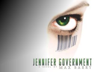 Omslaget till Max Barrys bok Jennifer Government.
